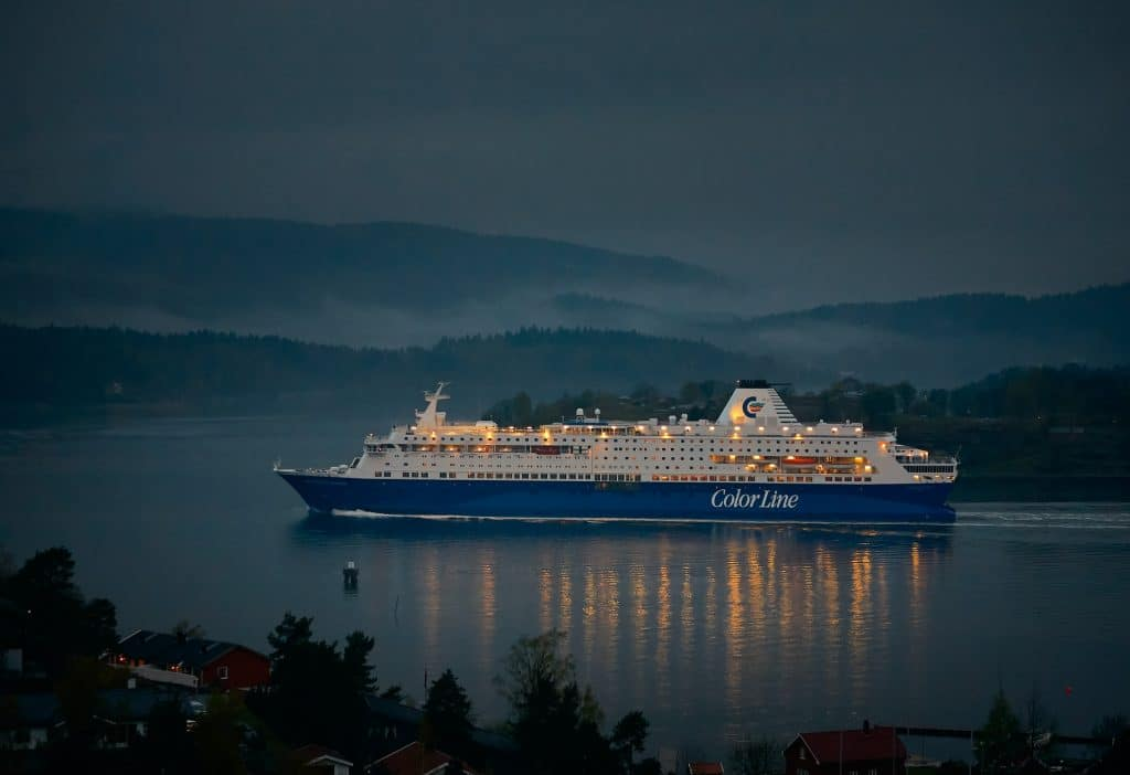 Cruiseship on the ocean during night time