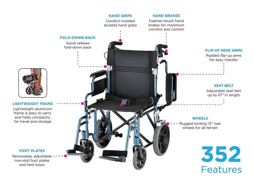 nova 352 lightweight transport chair feature
